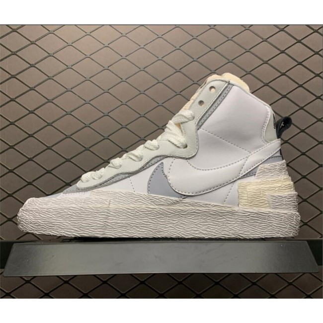 Mens Sacai x Nike Blazer Mid White Grey Shoes