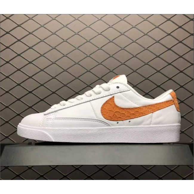 Womens Nike Blazer Low PRM White Orange 454471-118
