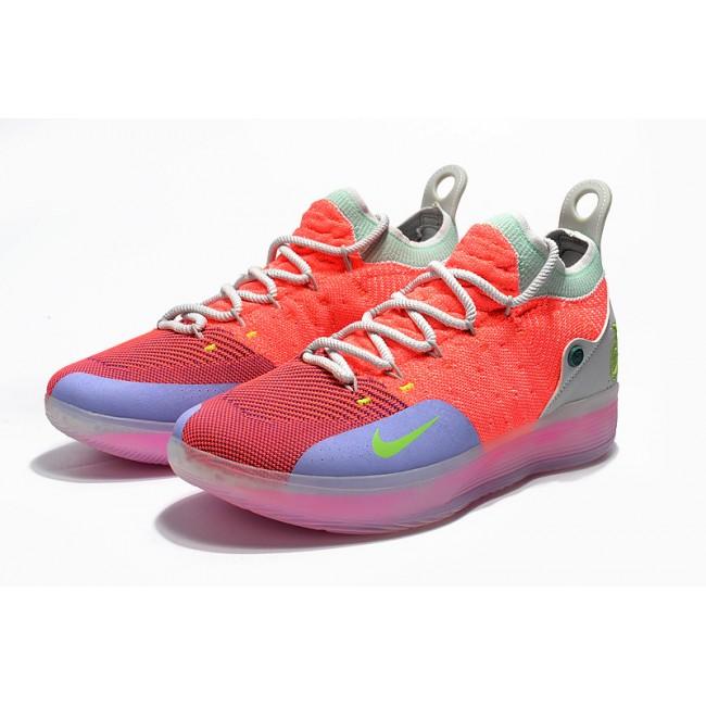 Mens Nike KD 11 EYBL Hot Punch Lime Blast-Pure Platinum