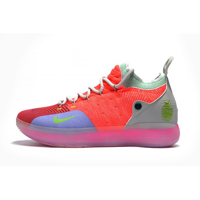 Mens Nike KD 11 EYBL Hot Punch Lime Blast-Pure Platinum