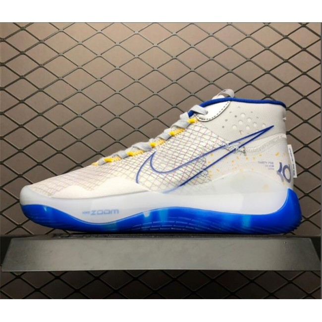 Mens Nike KD 12 Warriors Home Dub Nation White Amarillo