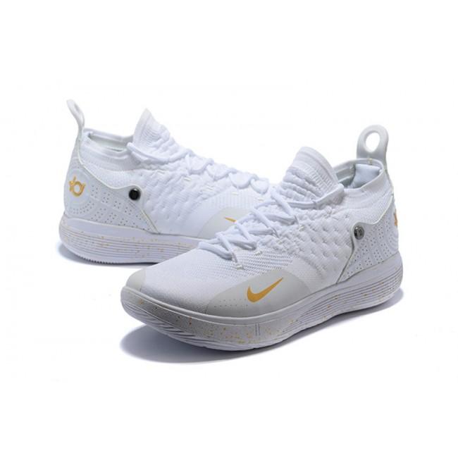 Mens Nike KD 11 White Metallic Gold Sneakers