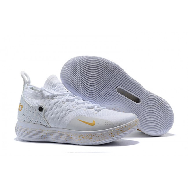 Mens Nike KD 11 White Metallic Gold Sneakers