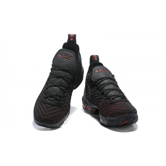 Mens Nike LeBron 16 Bred Black and Red