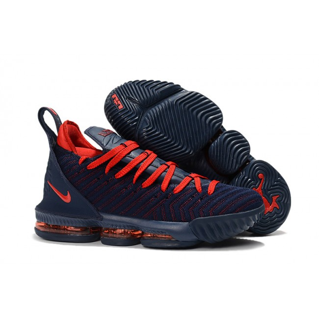 Mens New Release Nike LeBron 16 Obsidian Red Basketball Shoes