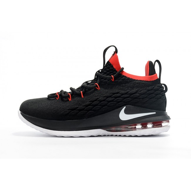 Mens Nike LeBron 15 Low Black White Red