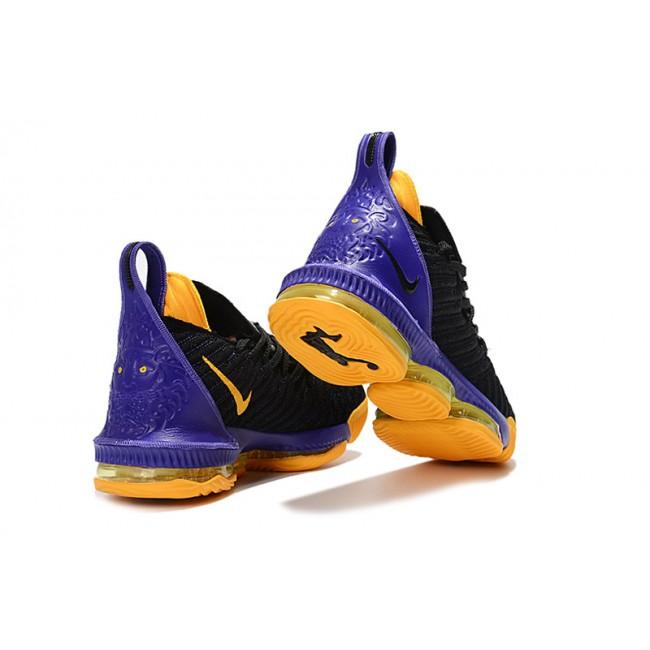 Mens Nike LeBron 16 Lakers Black Purple-Yellow Basketball Shoes