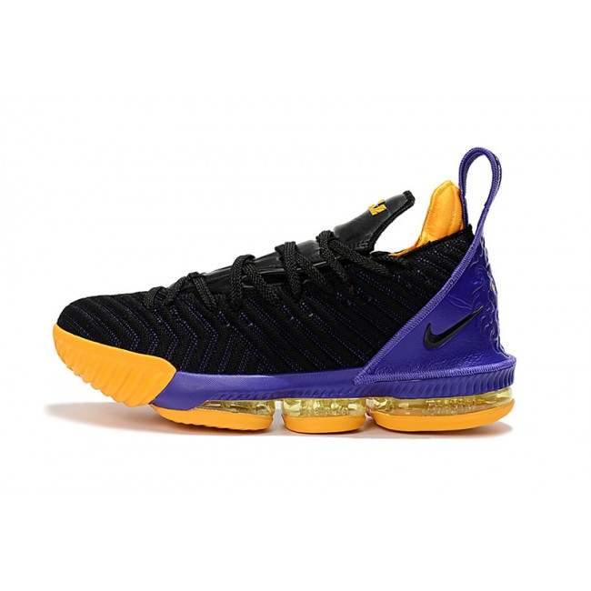 Mens Nike LeBron 16 Lakers Black Purple-Yellow Basketball Shoes