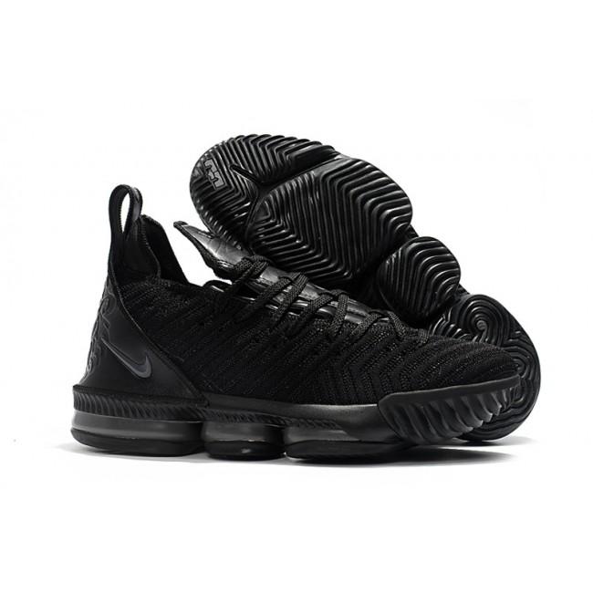 Mens Nike LeBron 16 Triple Black Hot Sale