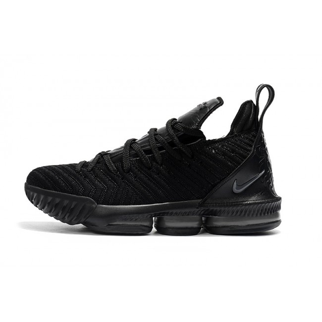 Mens Nike LeBron 16 Triple Black Hot Sale