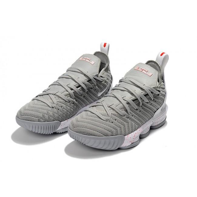 Mens Nike LeBron 16 Wolf Grey White Basketball Shoes