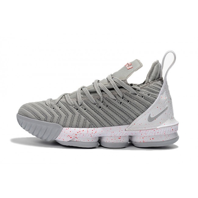 Mens Nike LeBron 16 Wolf Grey White Basketball Shoes