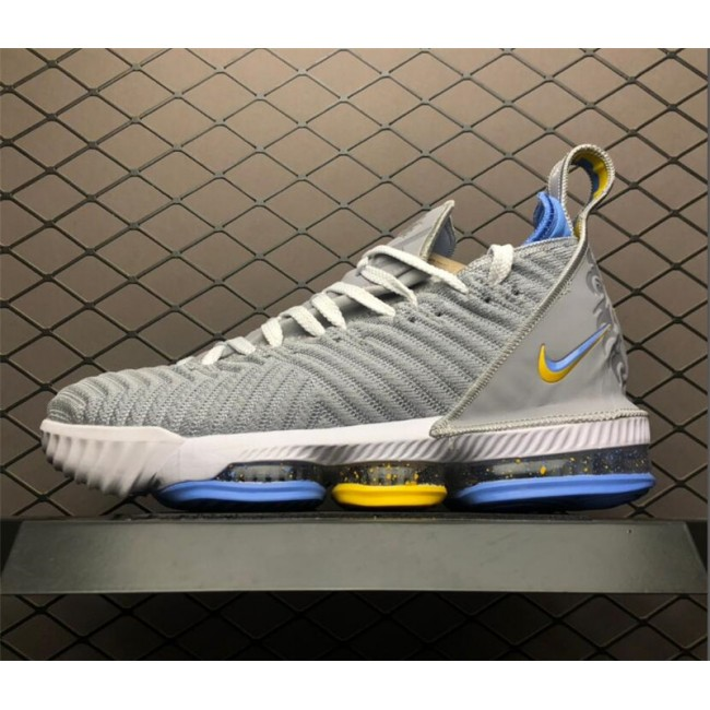 Mens Nike LeBron 16 MPLS Wolf Grey White-University Blue