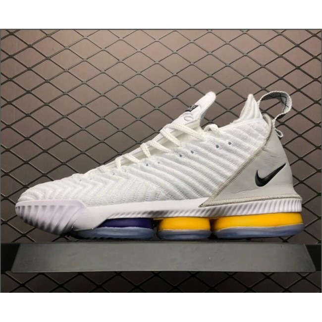 Mens Nike LeBron 16 White Grey-Orange Basketball Shoes