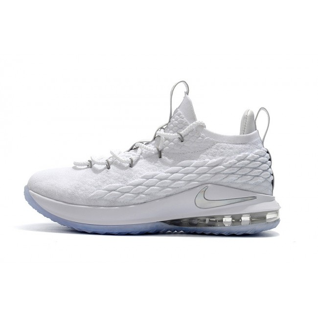 Mens Nike LeBron 15 Low White Metallic Silver-Atmosphere Grey