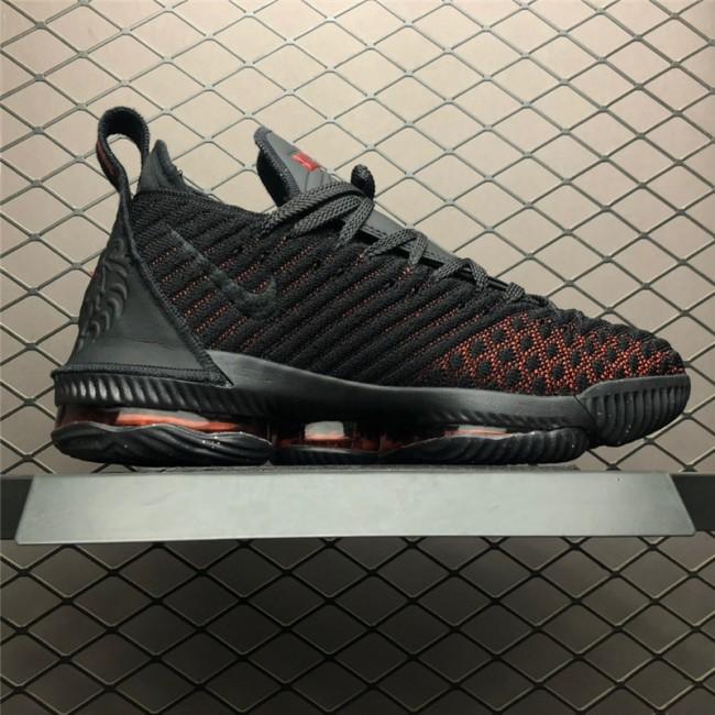 Mens Nike LeBron 16 Fresh Bred Black University Red