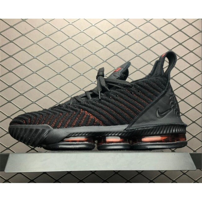 Mens Nike LeBron 16 Fresh Bred Black University Red