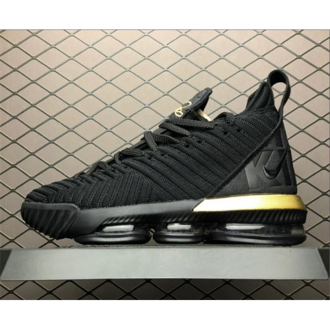Mens Nike LeBron 16 Im King Black Gold To BQ5970-007