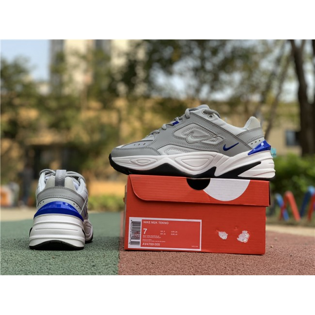 Mens Nike M2K Tekno Racer Blue Wolf Grey Pure Platinum-White
