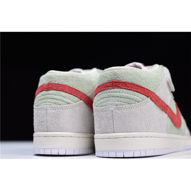 Mens Nike SB Dunk Mid White Widow Sail Gym Red-Fresh Mint