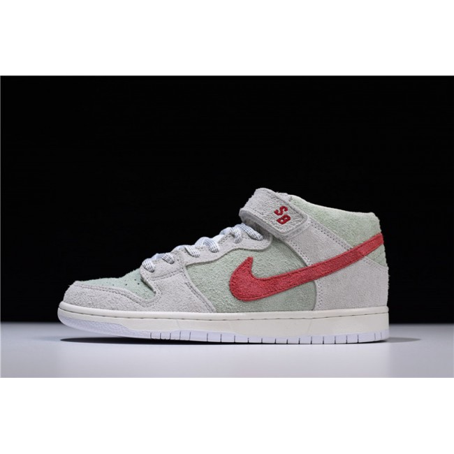 Mens Nike SB Dunk Mid White Widow Sail Gym Red-Fresh Mint