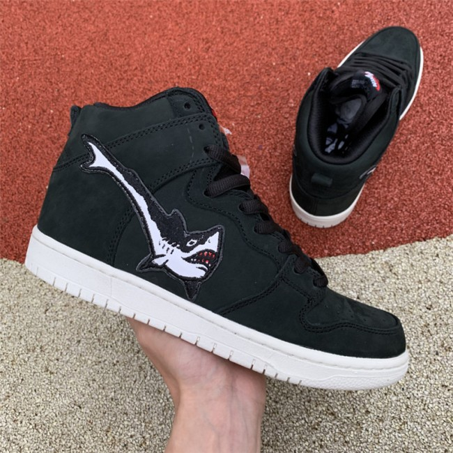 Mens/Womens Nike SB Dunk High Oski Shark Black Shoes
