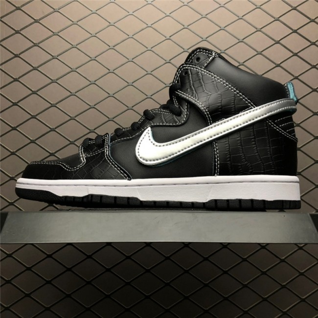Mens/Womens Nike SB Dunk High Pro Swoosh Black Blue Silver Shoes