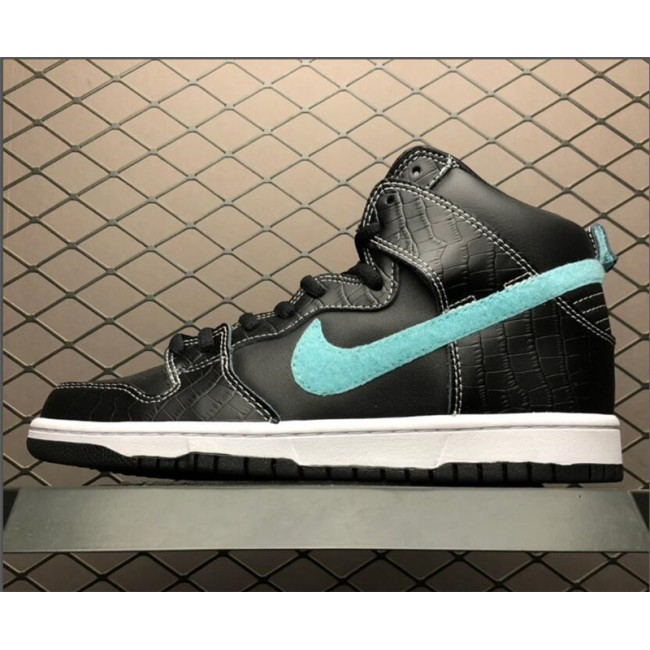 Mens/Womens Nike SB Dunk High Pro Swoosh Black Blue Silver Shoes