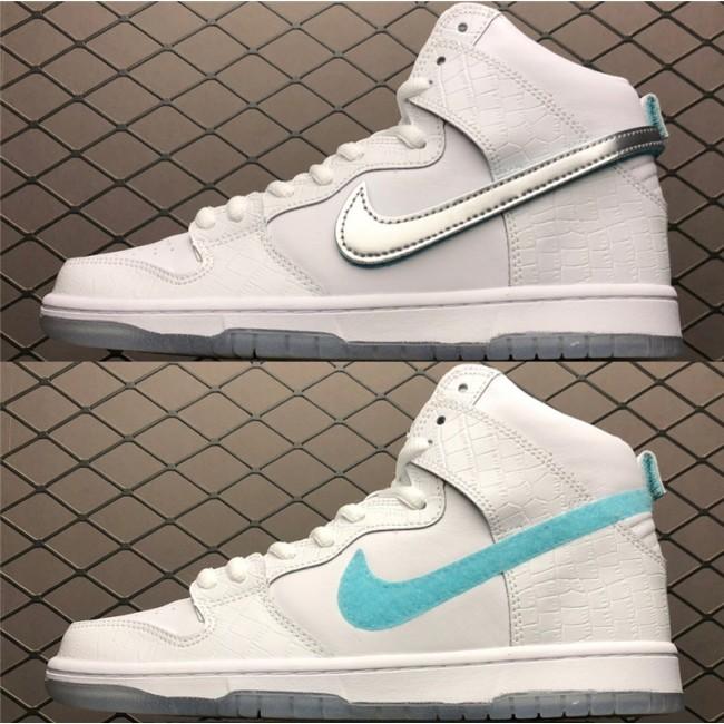 Mens/Womens Nike SB Dunk High Pro Swoosh White Blue Silver
