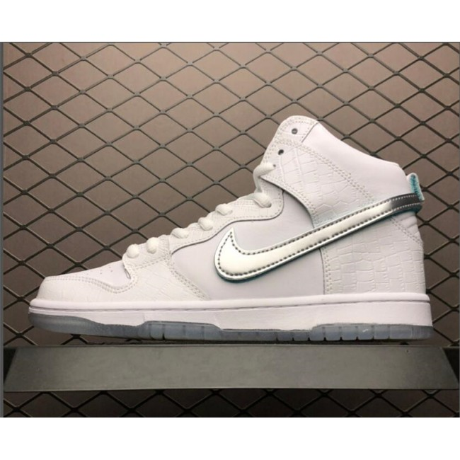 Mens/Womens Nike SB Dunk High Pro Swoosh White Blue Silver