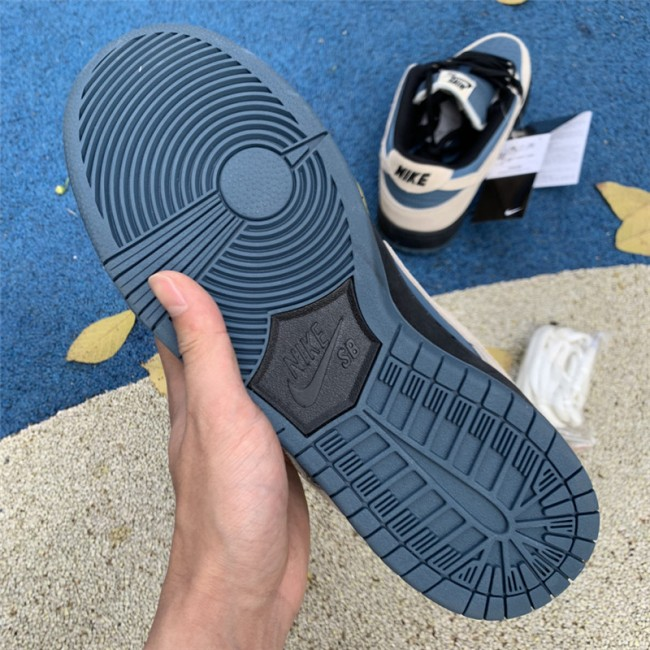 Mens Nike SB Dunk Low Pro Grey Blue Thunderstorm Black Light Cream