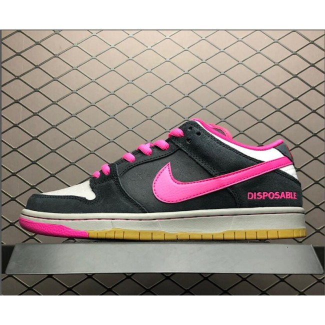Womens Nike SB Dunks Low Premium QS Disposable Black Pink Foil-White