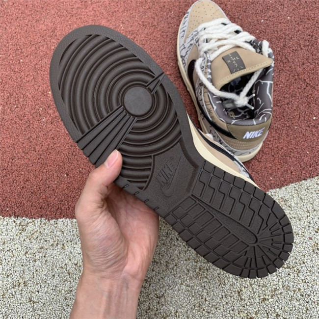 Mens Travis Scott x Nike SB Dunk Low White Black Brown