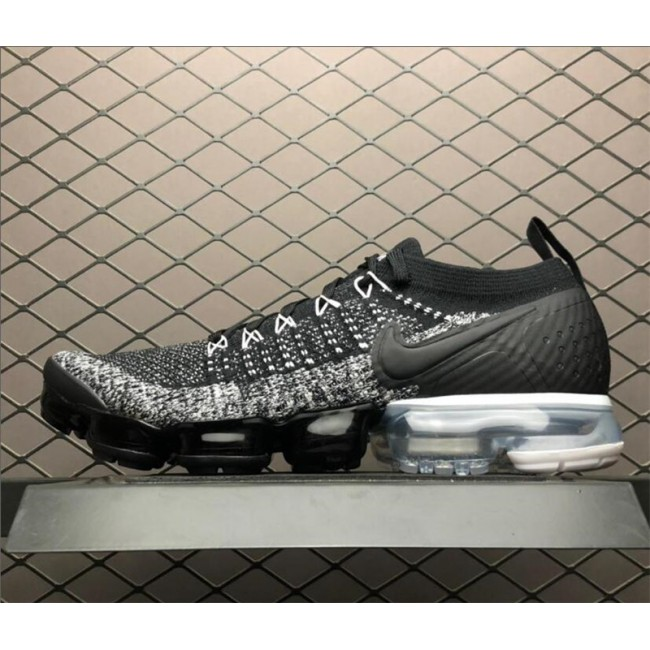 Mens Nike Air VaporMax Flyknit 2 Black White-Grey