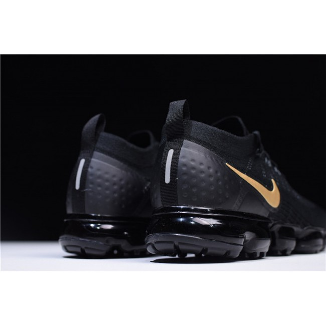 Mens Nike Air VaporMax Flyknit 2.0 Black Gold Running Shoes
