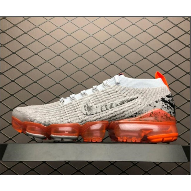 Mens Nike Air VaporMax Flyknit 3.0 Grey Orange