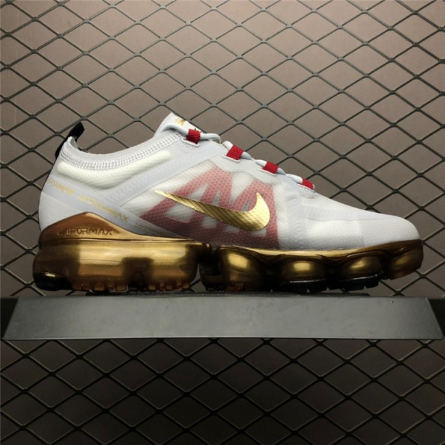 Mens Nike Air VaporMax CNY Pure Platinum Metallic Gold-Gym Red