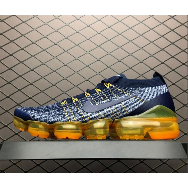 Mens Nike Vapormax Flyknit 3 Navy Grey-Orange On Sale